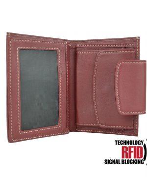 RFID kožená peňaženka v červenej farbe vybavená blokáciou RFID NFC, č (3)