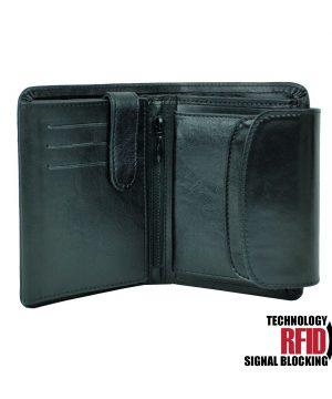 RFID kožená peňaženka v čiernej farbe vybavená blokáciou RFID NFC, č (3)