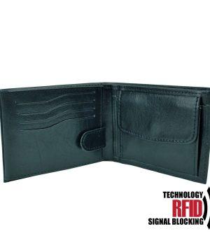RFID kožená peňaženka v čiernej farbe vybavená blokáciou RFID NFC (2)