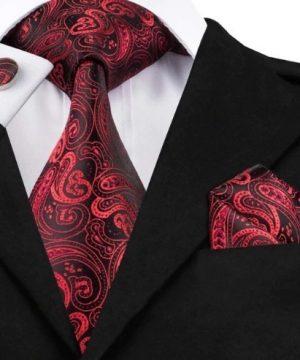 Darčeková sada - kravata + manžety + vreckovka s červeným ornamentom