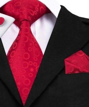 Darčeková sada - kravata + manžety + vreckovka s červenými bublinkami