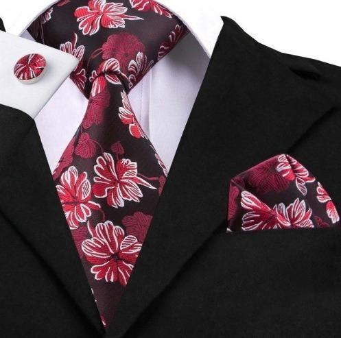 Darčeková sada - kravata + manžety + vreckovka s červenými kvetinami