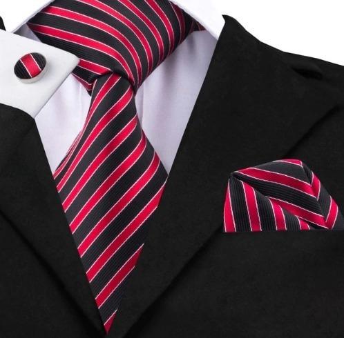 Darčeková sada - kravata + manžety + vreckovka s červeno-čiernymi pásikmi
