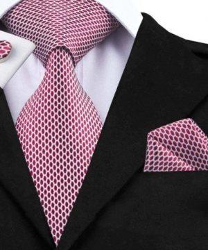 Darčeková sada - kravata + manžety + vreckovka s červeno-bielym vzorom