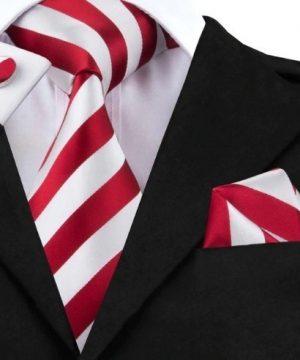 Darčeková sada - kravata + manžety + vreckovka s červeno-bielymi pásikmi