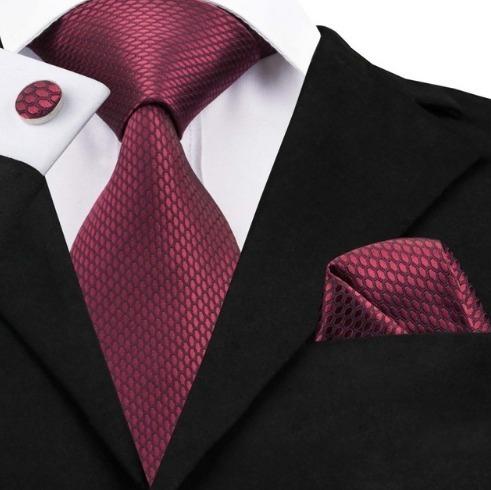 Darčeková sada - kravata + manžety + vreckovka s bordovým vzorom