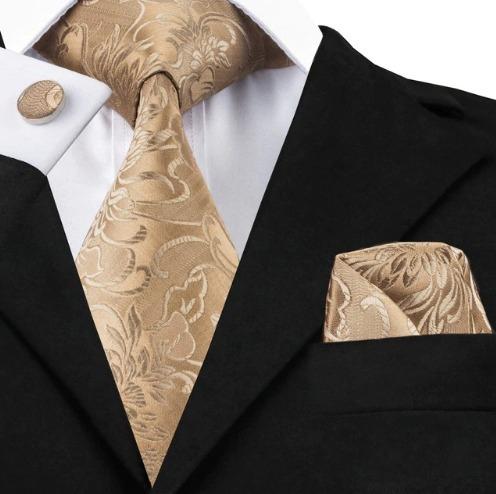 Pánska sada - kravata + manžety + vreckovka s hnedým vzorom