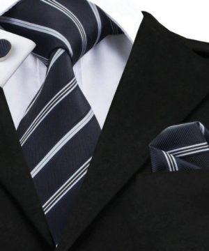 Kravatová sada - kravata + manžety + vreckovka s antracitovým vzorom