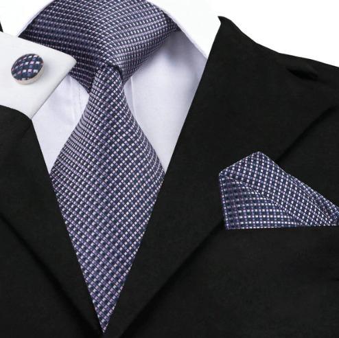Kravatová sada - kravata + manžety + vreckovka s fialovým vzorom
