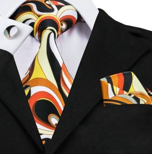 Kravatová sada - kravata + manžety + vreckovka s viac-farebným vzorom