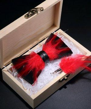 Luxusná sada - pánsky motýlik z vtáčích pierok a brošňa na šaty