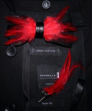 Luxusná sada - pánsky motýlik z vtáčích pierok a brošňa na šaty model_02