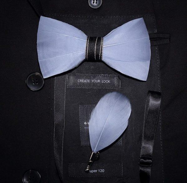 Luxusná sada - pánsky motýlik z vtáčích pierok a brošňa na šaty model_05