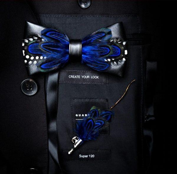 Luxusná sada - pánsky motýlik z vtáčích pierok a brošňa na šaty model_06