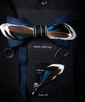Luxusná sada - pánsky motýlik z vtáčích pierok a brošňa na šaty model_11