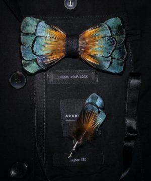 Luxusná sada - pánsky motýlik z vtáčích pierok a brošňa na šaty model_13