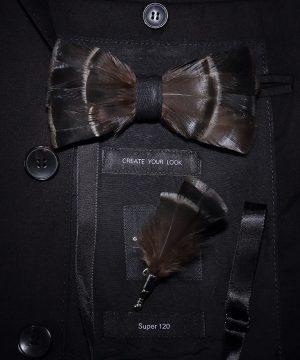 Luxusná sada - pánsky motýlik z vtáčích pierok a brošňa na šaty model_14
