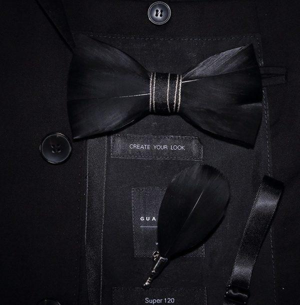 Luxusná sada - pánsky motýlik z vtáčích pierok a brošňa na šaty model_16