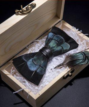 Luxusná sada - pánsky motýlik z vtáčích pierok a brošňa na šaty model_17