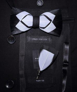 Luxusná sada - pánsky motýlik z vtáčích pierok a brošňa na šaty model_18