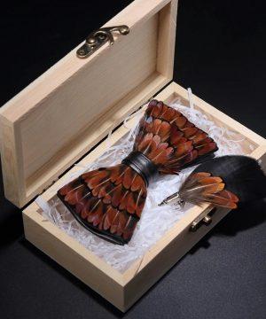 Luxusná sada - pánsky motýlik z vtáčích pierok a brošňa na šaty model_19