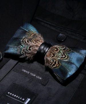 Luxusná sada - pánsky motýlik z vtáčích pierok a brošňa na šaty model_20