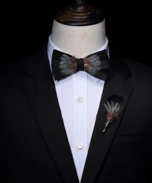 Luxusná sada - pánsky motýlik z vtáčích pierok a brošňa na šaty model_21