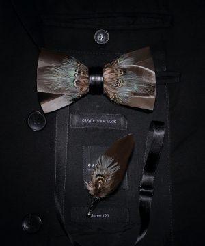 Luxusná sada - pánsky motýlik z vtáčích pierok a brošňa na šaty model_24