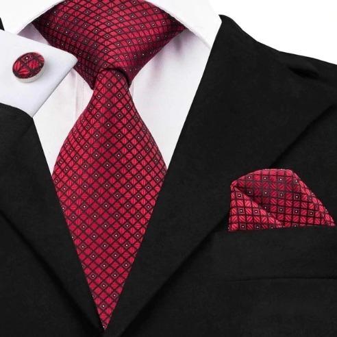 Pánska kravatová sada - kravata + manžety + vreckovka s červeným vzorom