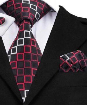 Pánska kravatová sada - kravata + manžety + vreckovka s červenými štvorčekmi