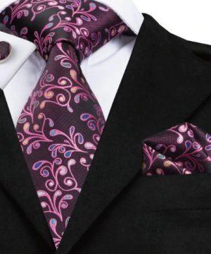 Pánska kravatová sada - kravata + manžety + vreckovka s fialovým vzorom