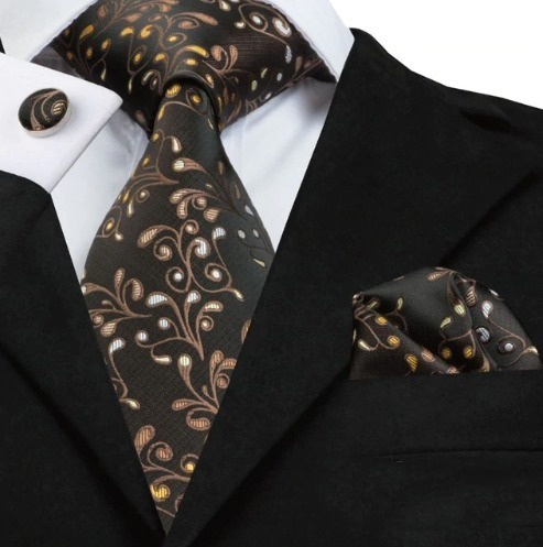 Pánska kravatová sada - kravata + manžety + vreckovka s hnedým vzorom
