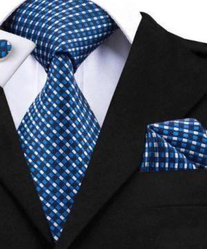 Pánska kravatová sada - kravata + manžety + vreckovka s modrými štvorčekmi