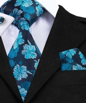 Pánska kravatová sada - kravata + manžety + vreckovka s modrými kvietkami