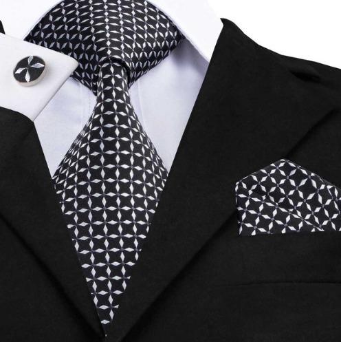 Pánska kravatová sada - kravata + manžety + vreckovka v čierno-bielej farbe
