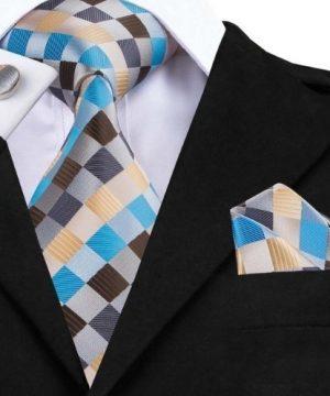 Pánska kravatová sada - kravata + manžety + vreckovka vo viac farbách