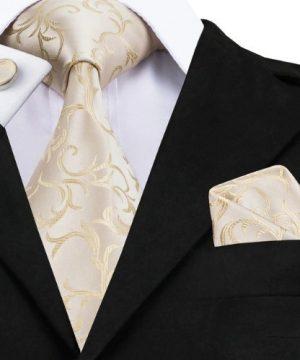 Pánska sada - kravata + manžety + vreckovka s krémovým vzorom