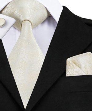 Pánska sada - kravata + manžety + vreckovka so krémovým vzorom