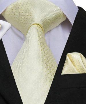 Pánska sada - kravata + manžety + vreckovka so svetlo-žltým vzorom