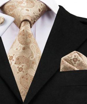 Pánska sada - kravata + manžety + vreckovka so svetlo hnedým vzorom