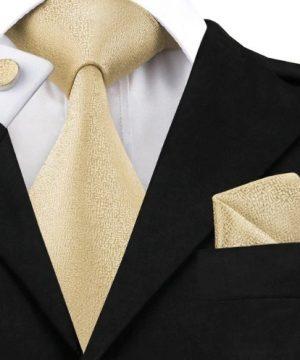 Pánska sada - kravata + manžety + vreckovka v svetlo žltej štruktúre