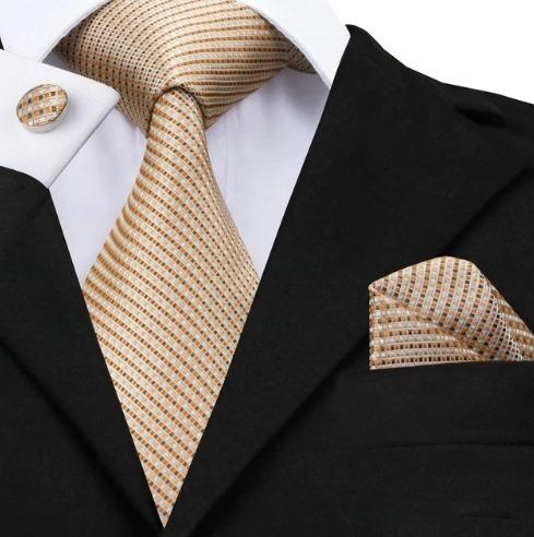 Pánska sada - kravata + manžety + vreckovka v svetlo hnedej štruktúre