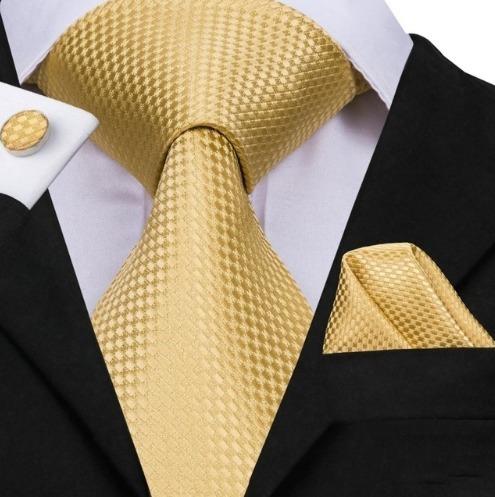Pánska sada - kravata + manžety + vreckovka v zlatej štruktúre