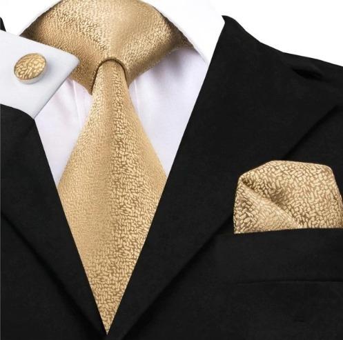 Pánska sada - kravata + manžety + vreckovka v zlato-medenej štruktúre