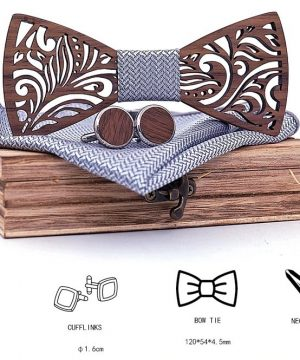 Reliéfny set - drevený motýlik + manžety + vreckovka s drevenou krabičkou