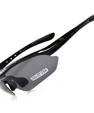 Športové polarizované okuliare s 5 vymeniteľnými viac-účelovými sklami - čierne