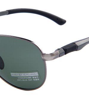 Štýlové polarizované slnečné okuliare - pilotky so zelenými sklami