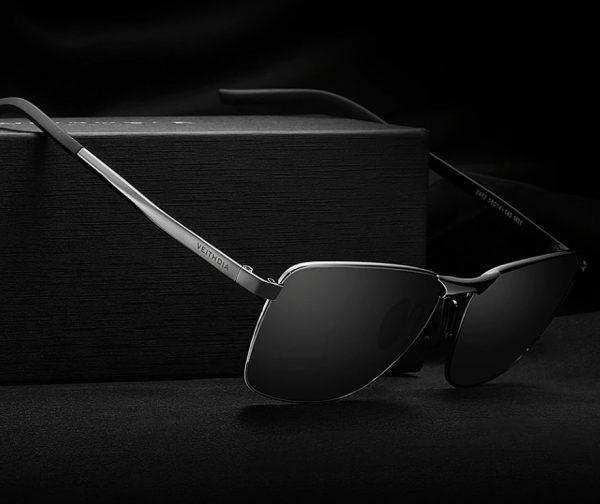 Kvalitné pánske polarizované slnečné okuliare so sivým rámikom