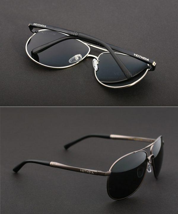 Pánske polarizované slnečné okuliare - strieborné pilotky