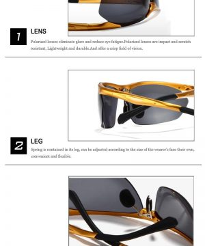 Vysoko polarizované športové slnečné okuliare so zlatým rámikom